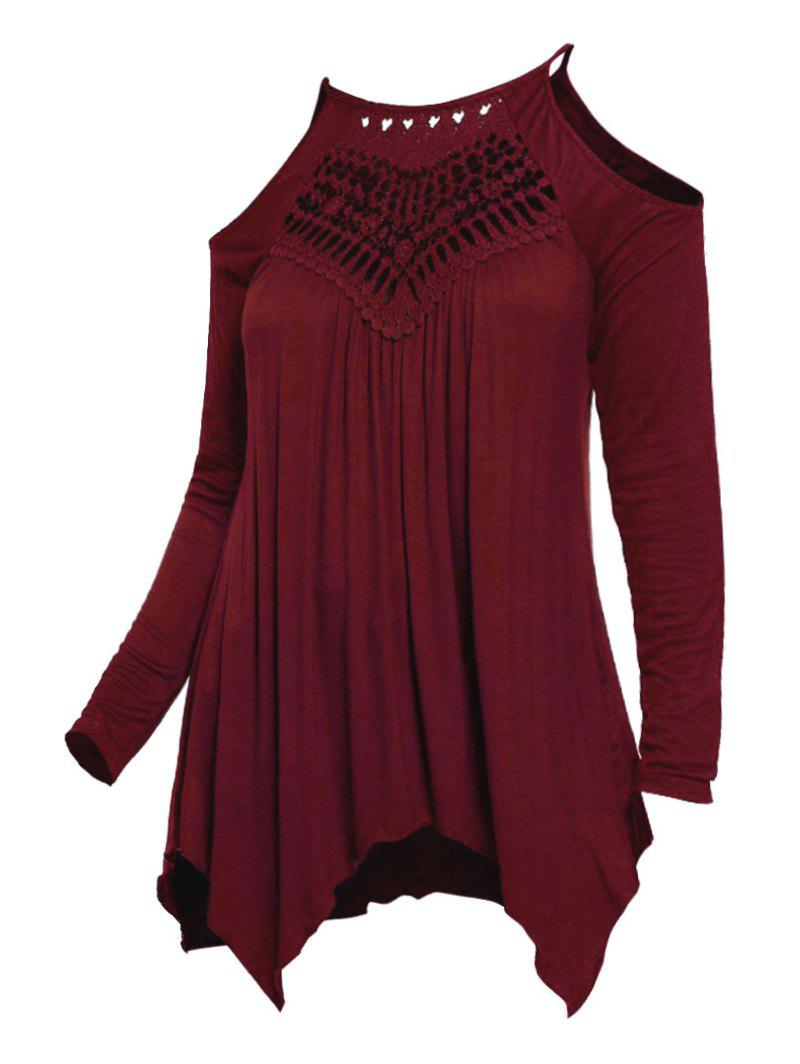 Plus Size Cold Shoulder empiècements en dentelle Mouchoir T-shirt - Rouge Vineux 2X