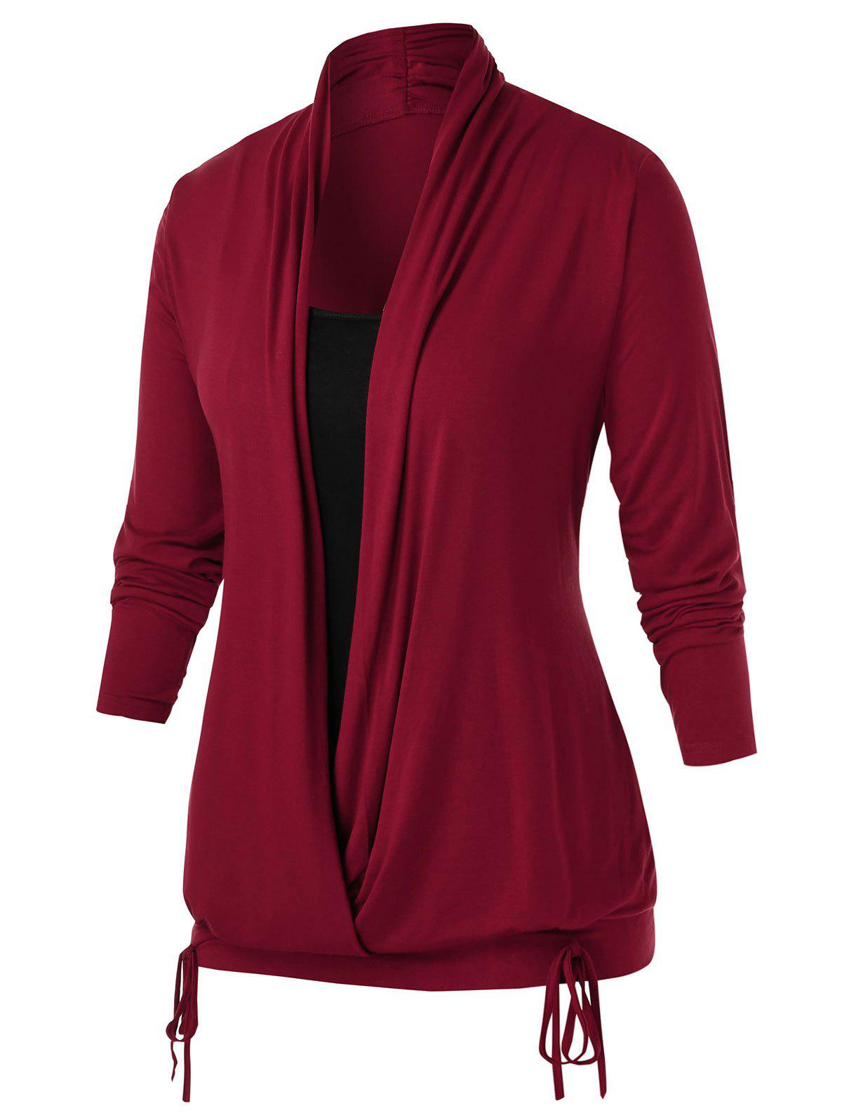 Plus Size Wrap Cowl Neck Two Tone T Shirt - RED WINE 5X