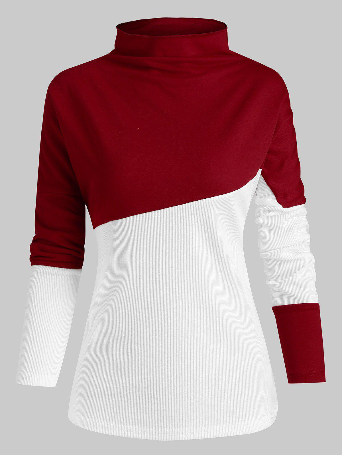 Slash Neck Colorblock Top long - Rouge Vineux M