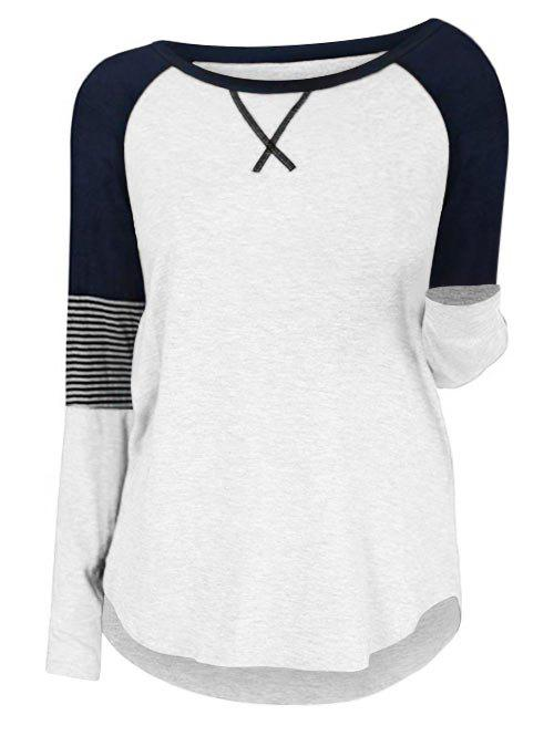 Plus Size Raglan Sleeve Contrast Color T Shirt - WHITE L
