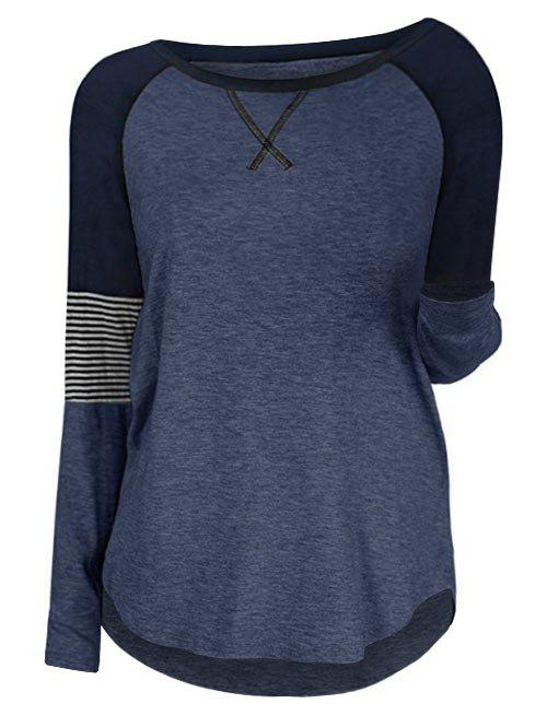 Plus Size Raglan Sleeve Contrast Color T Shirt - CADETBLUE L