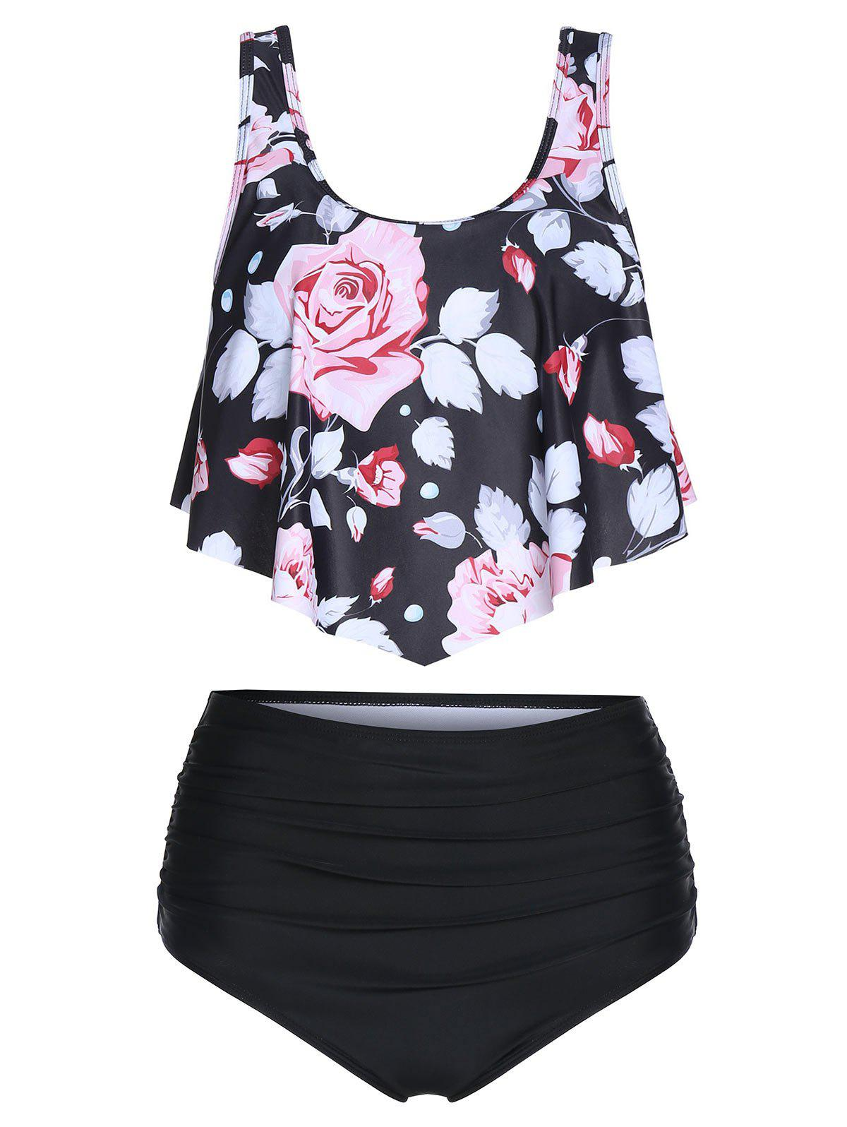 Floral Print High Waisted Tankini Swimwear - multicolor A M