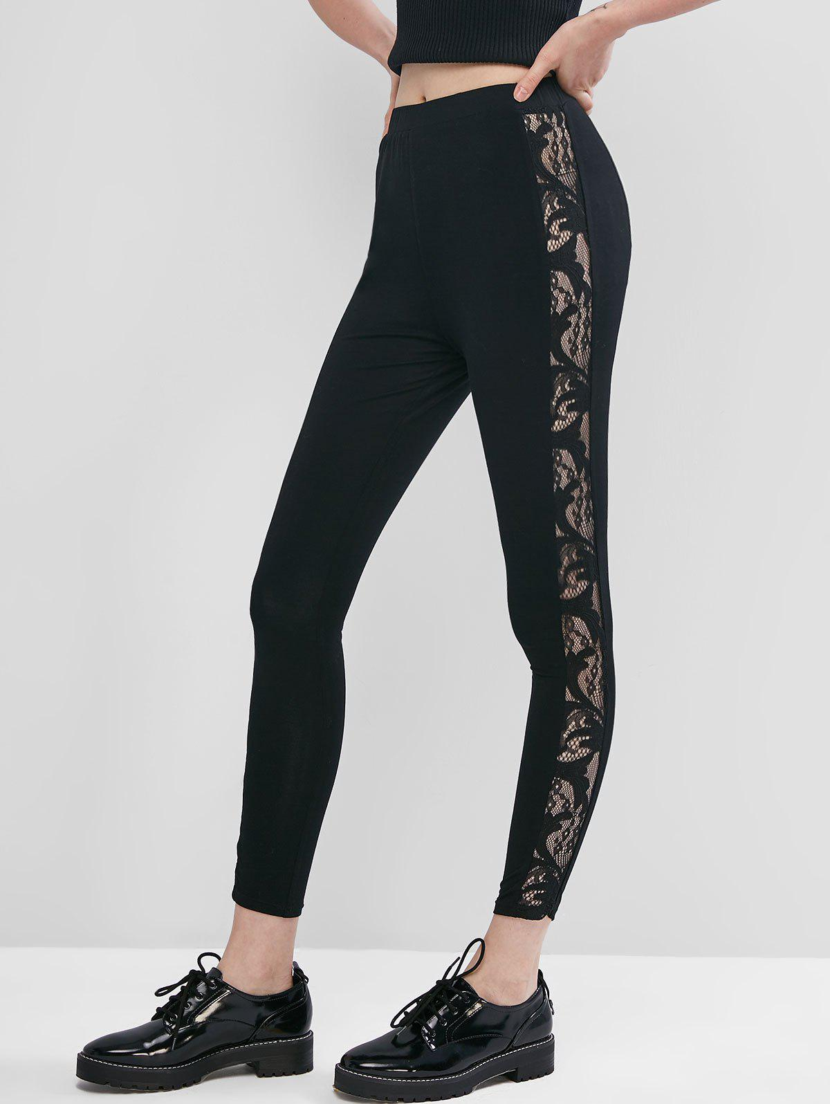 Lace Side High Waisted Pull On Leggings - TWILIGHT BLACK S