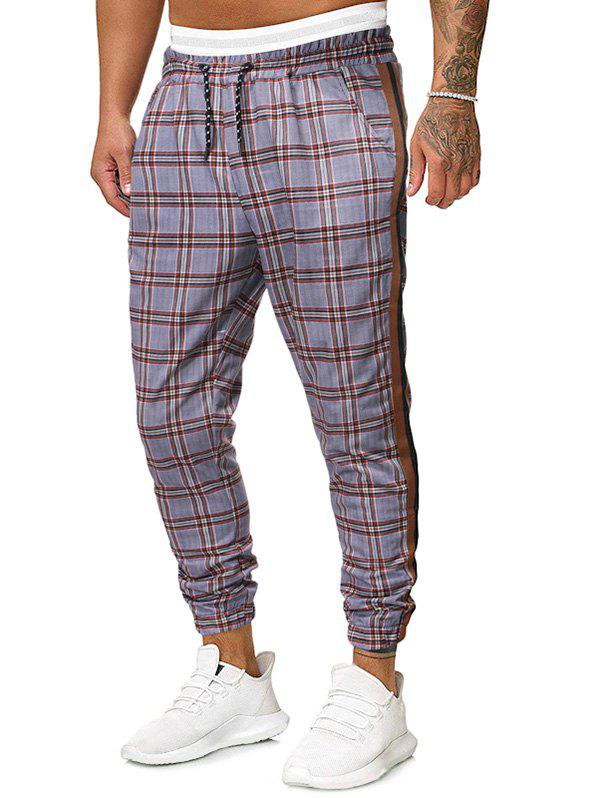 Plaid Printed Drawstring Casual Jogger Pants - DARK KHAKI 2XL