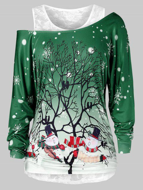 Plus Size Skew Neck Christmas Printed T Shirt And Lace Top Set