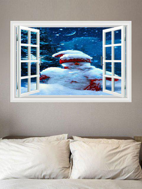 Christmas Snowman Window Print Decorative Wall Art Sticker