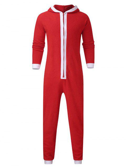 Christmas Color Spliced Zipper Hooded Jumpsuit