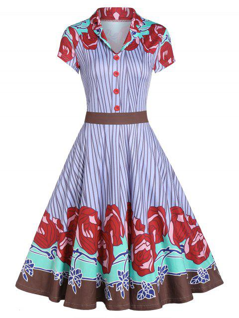 Fit And Flare Shawl Collar Retro Dress