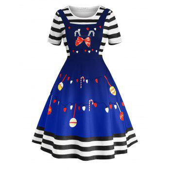 Plus Size Vintage Christmas Print Fit and Flare Dress