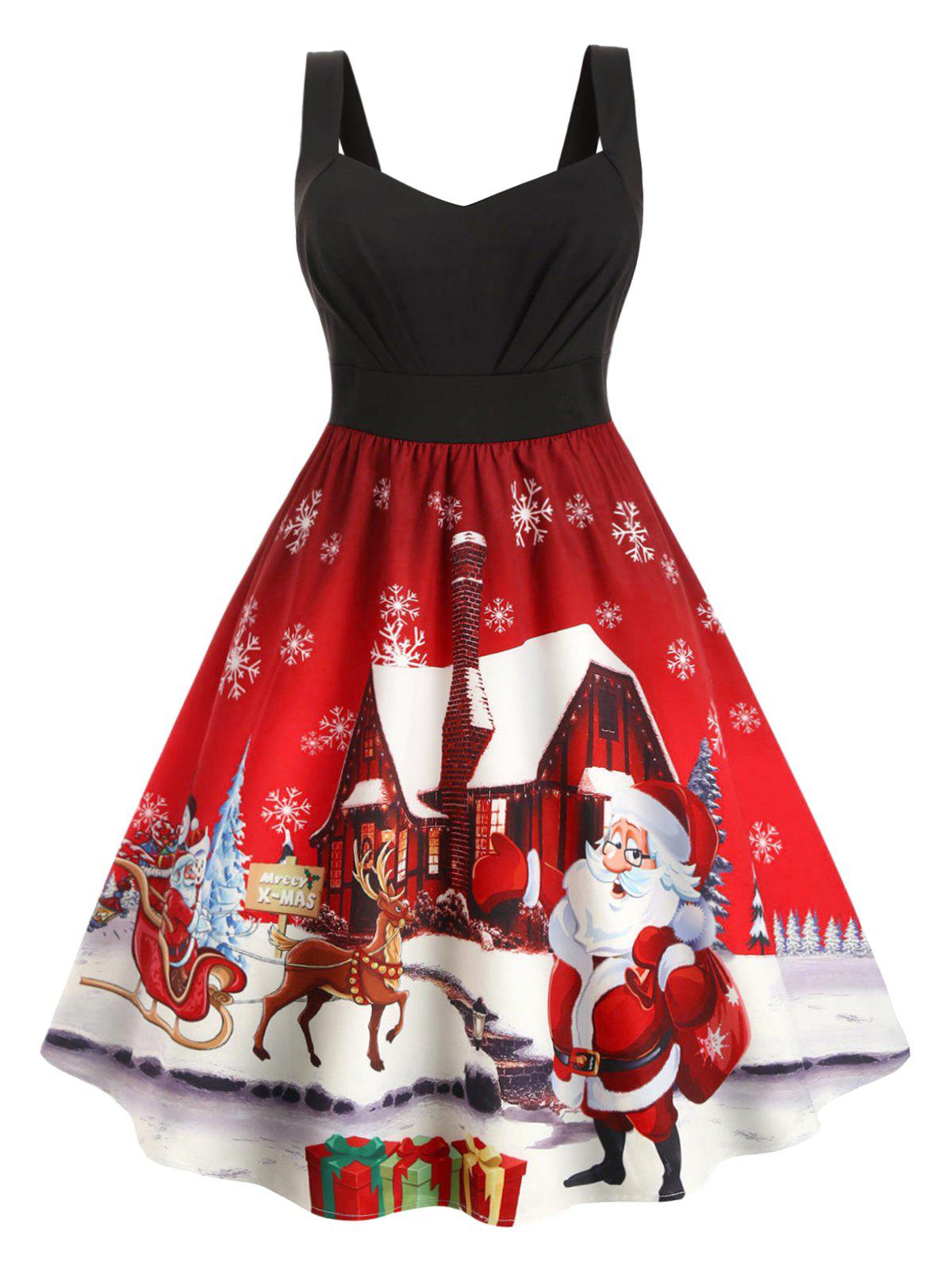 Ruched Snowflake Snowman Santa Claus Christmas Plus Size Dress - RED 4X