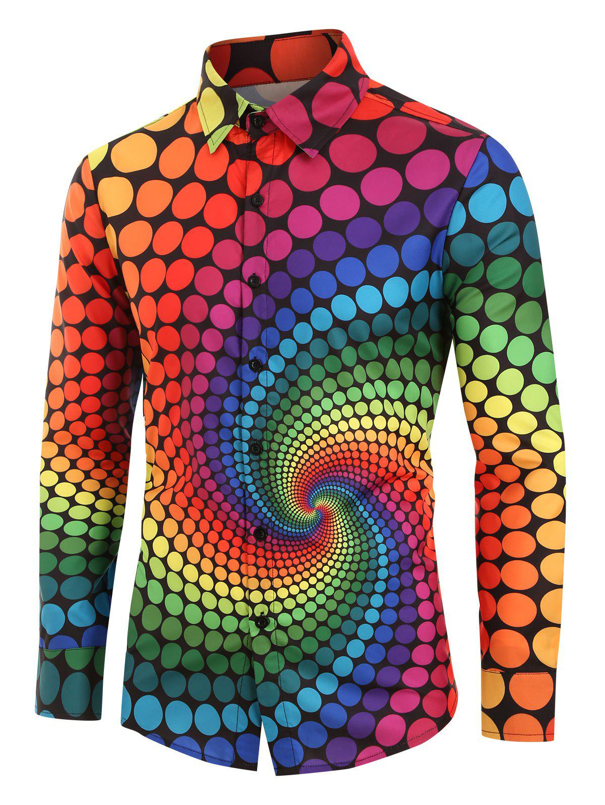 Plus Size Colorful Polka Dot Swirl Print Long Sleeve Shirt - multicolor 3XL