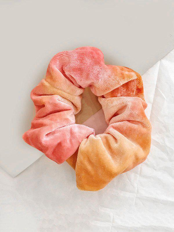 Gradient Water Color Elastic Velour Fabric Scrunchy - SANDY BROWN