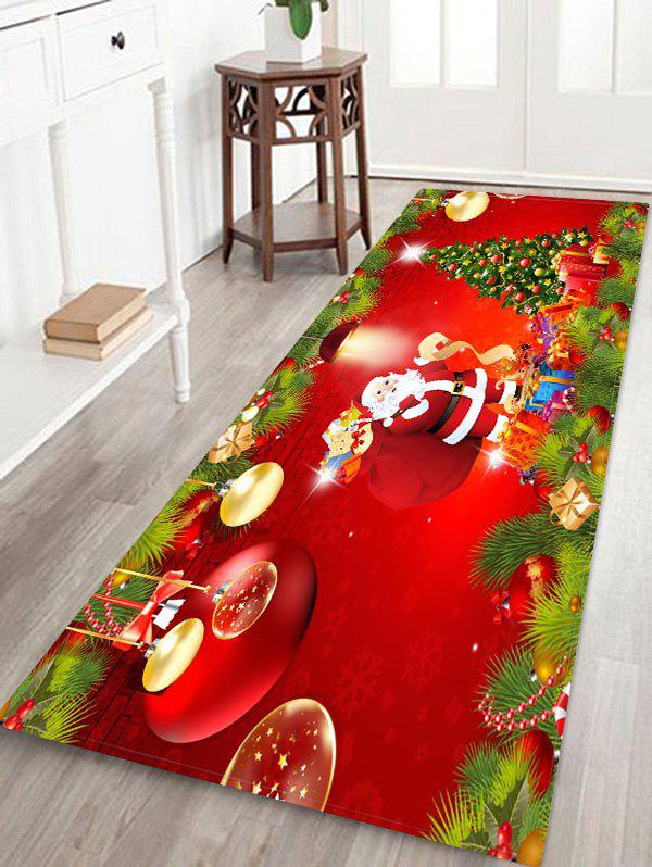 Father Christmas Tree Printed Design Floor Rug - multicolor W16 X L47 INCH
