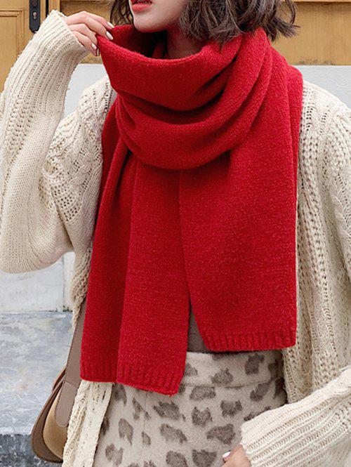 Solid Color Knit Scarf - RED