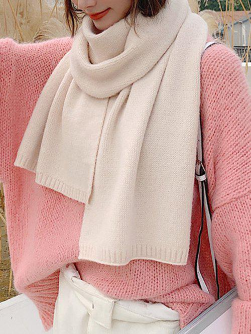 Solid Color Knit Scarf - WARM WHITE