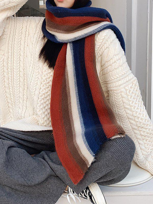 Colorblock Striped Knit Scarf - CADETBLUE