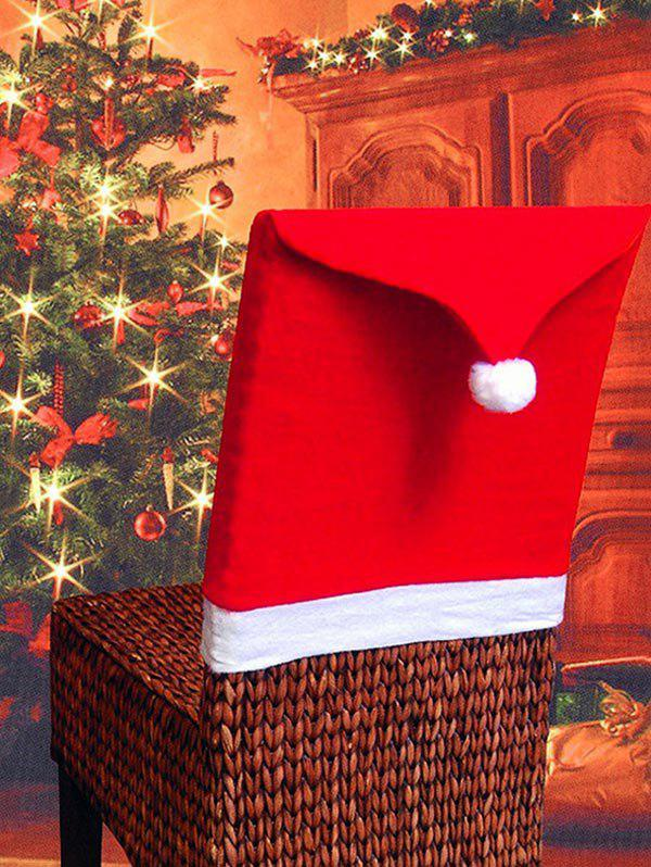 Colorblock Spliced Christmas Chair Cover - RED