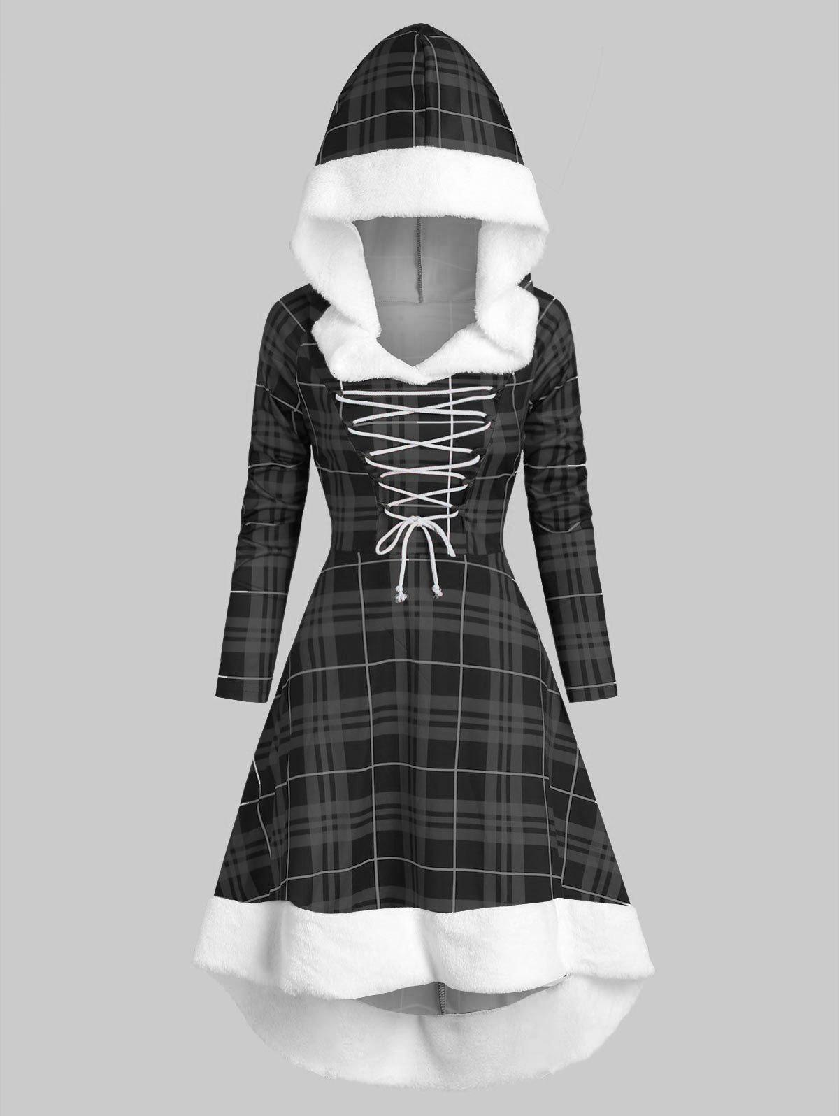 Plaid Faux Fur Insert Hooded Lace Up High Low Dress - BLACK 3XL