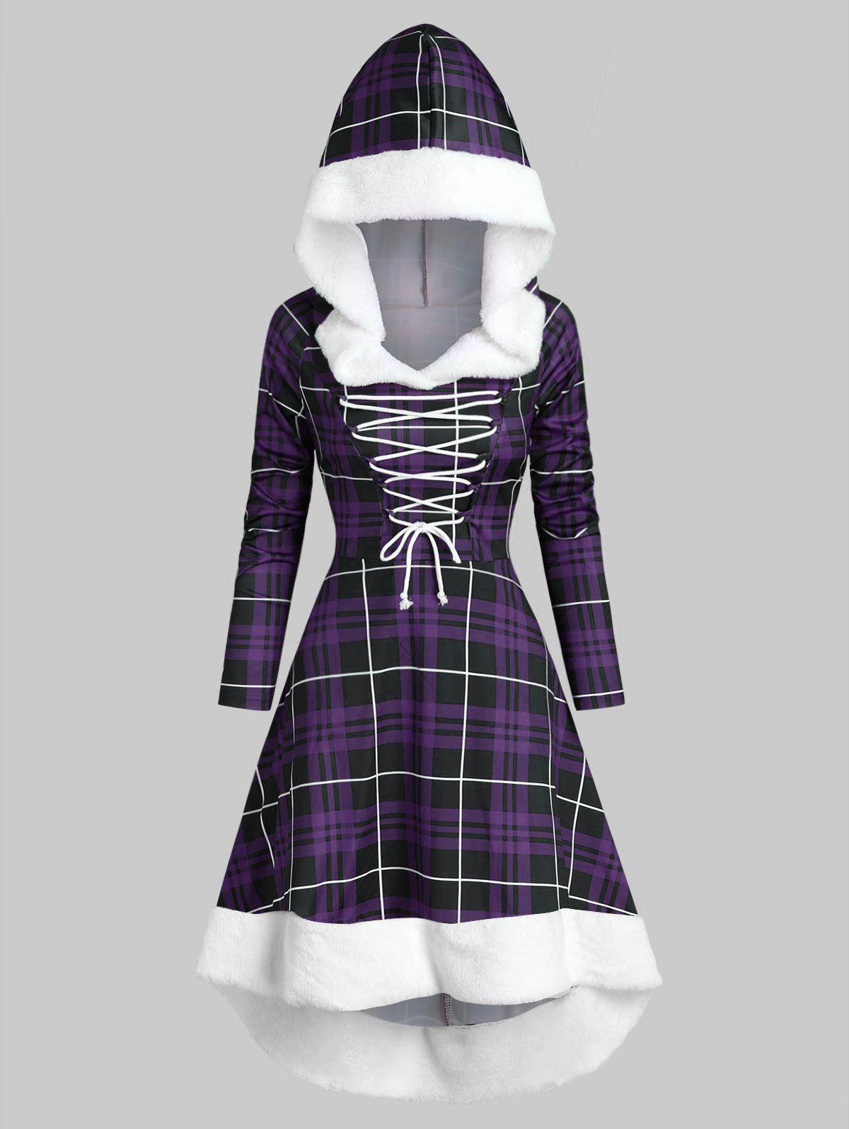 Plaid Faux Fur Insert Hooded Lace Up High Low Dress - DARK ORCHID M