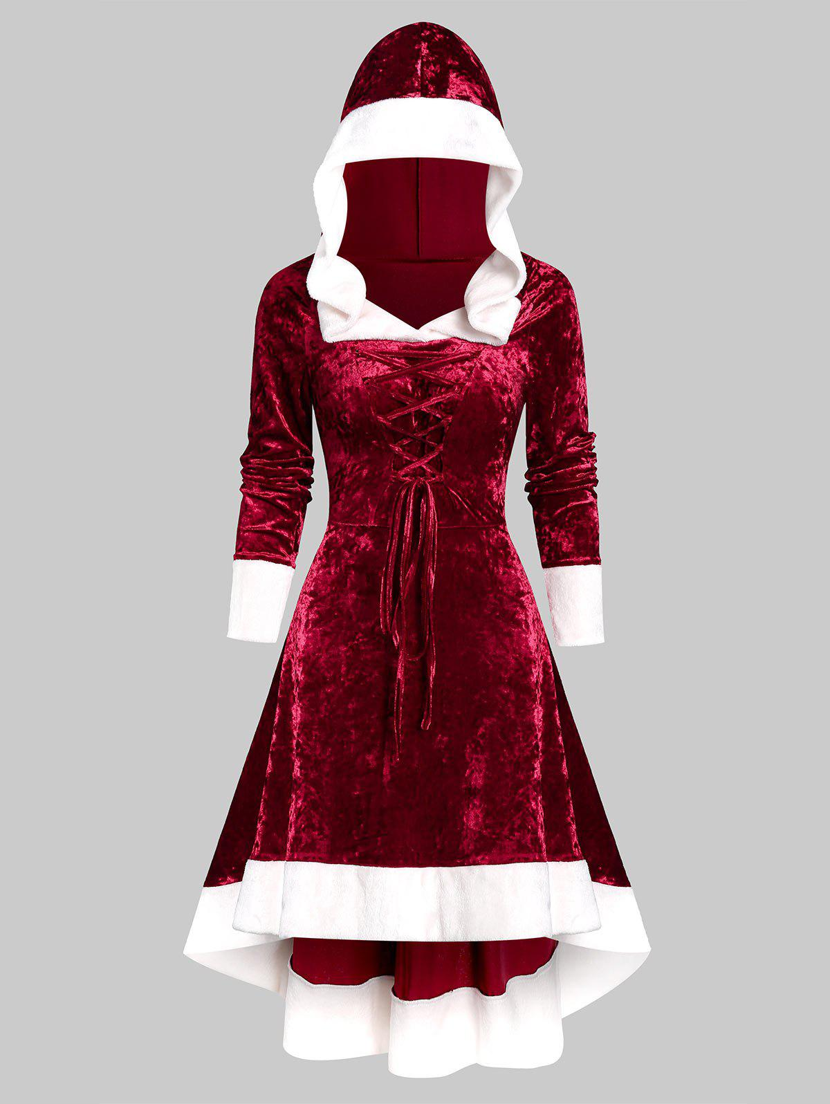 Hooded Faux Fur Trim Lace-up High Low Flannel Dress - RED WINE S