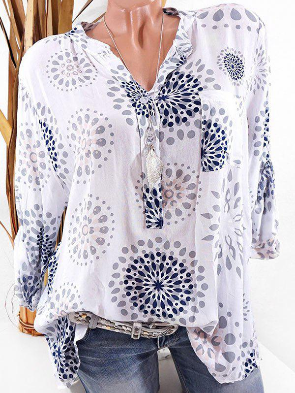 Printed Placket Roll Sleeve Blouse - WHITE XL