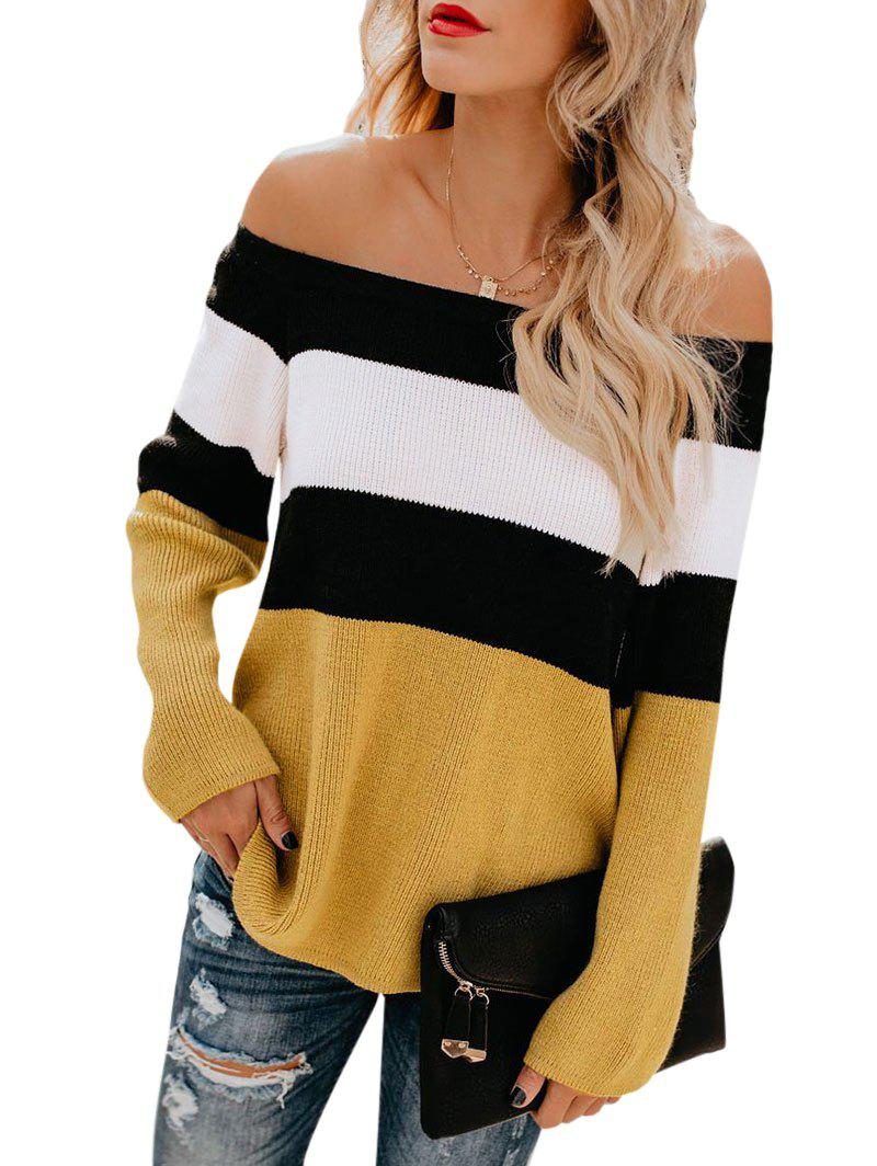 Colorblock Ribbed Off The Shoulder Knitwear - RUBBER DUCKY YELLOW S
