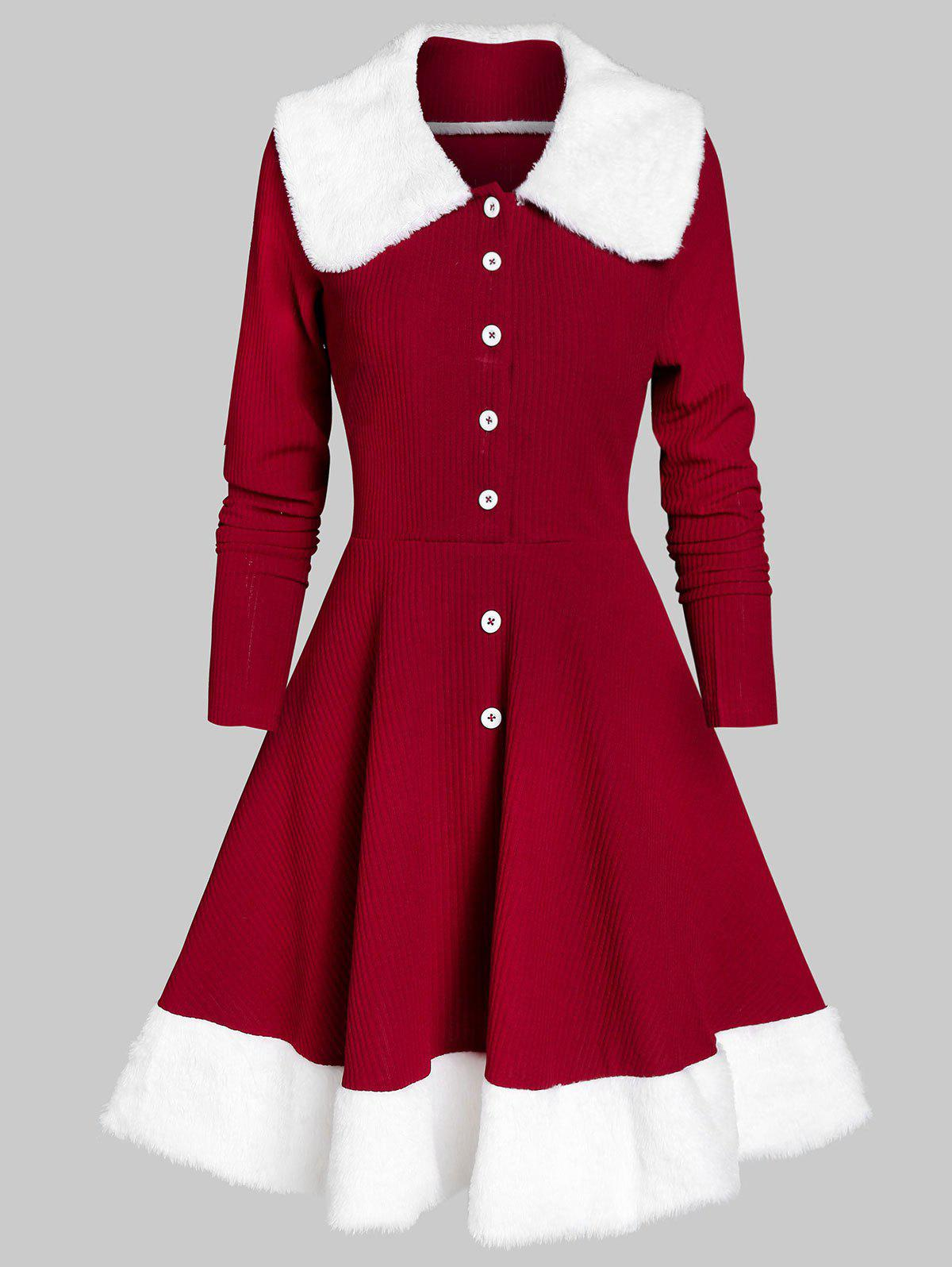 Half Buttons Faux Fur Knitted Dress - RED WINE 3XL