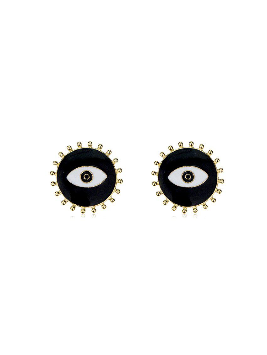 Eye and Lashes Pattern Stud Earrings - GOLD