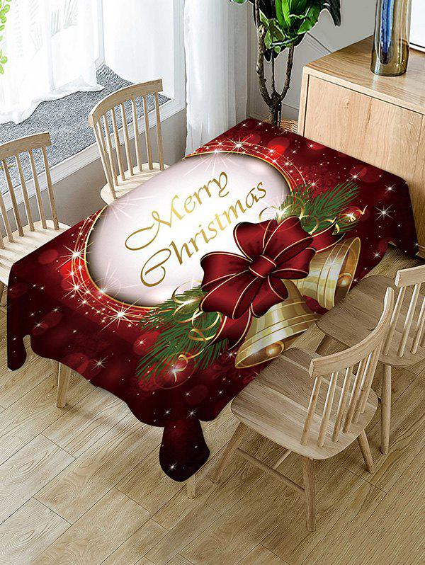 Merry Christmas Bell Fabric Table Cloth - multicolor 60 X 84 INCH