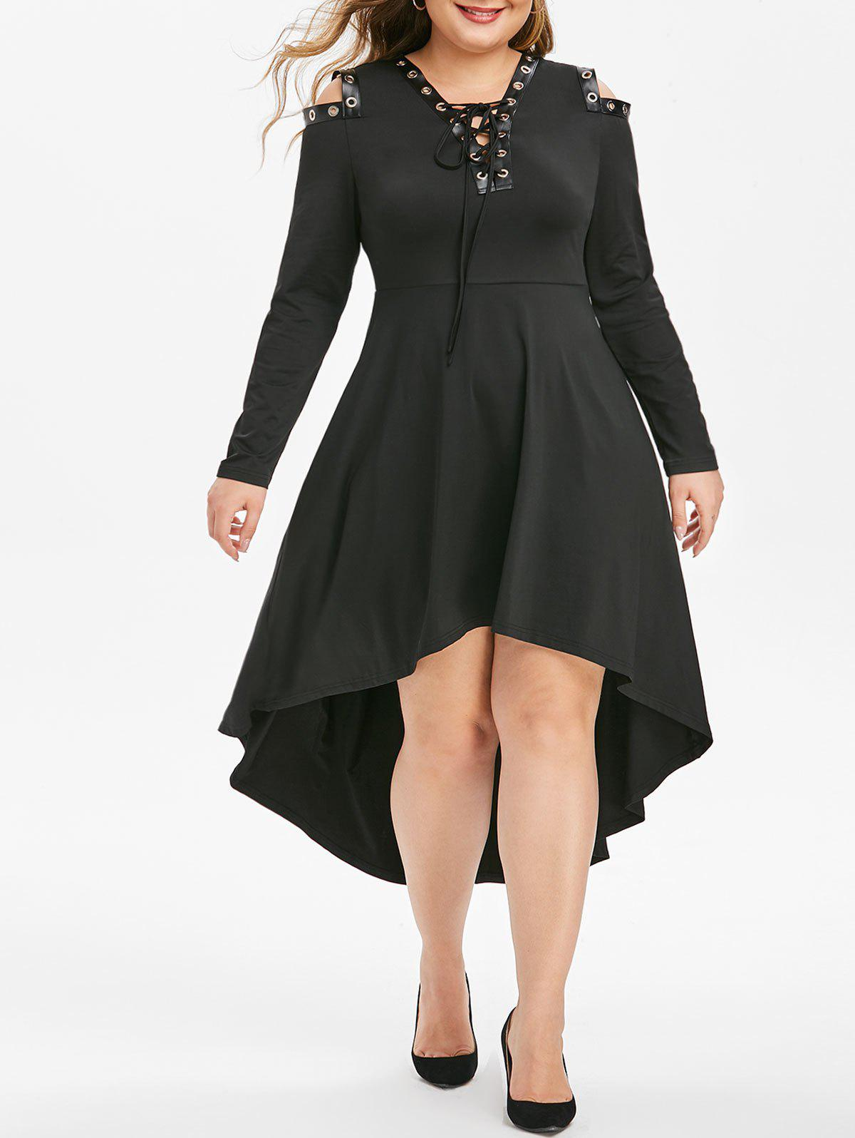 Plus Size Grommet Lace Up Dip Hem Open Shoulder Dress - BLACK 5X