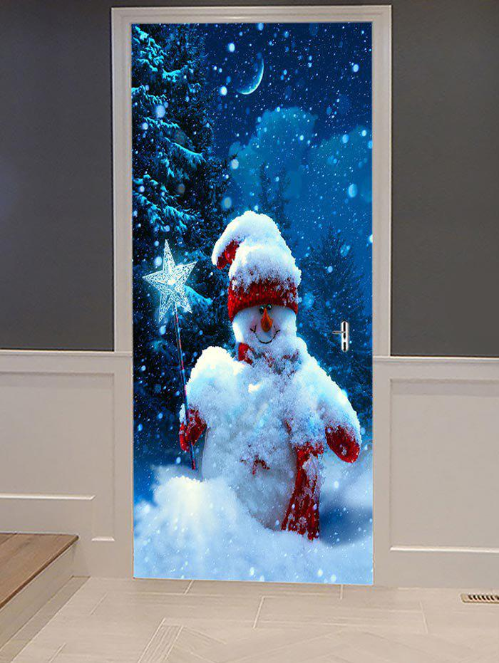 Christmas Night Snowman Print Decorative Door Art Stickers - multicolor 2PCS X 15 X 79 INCH