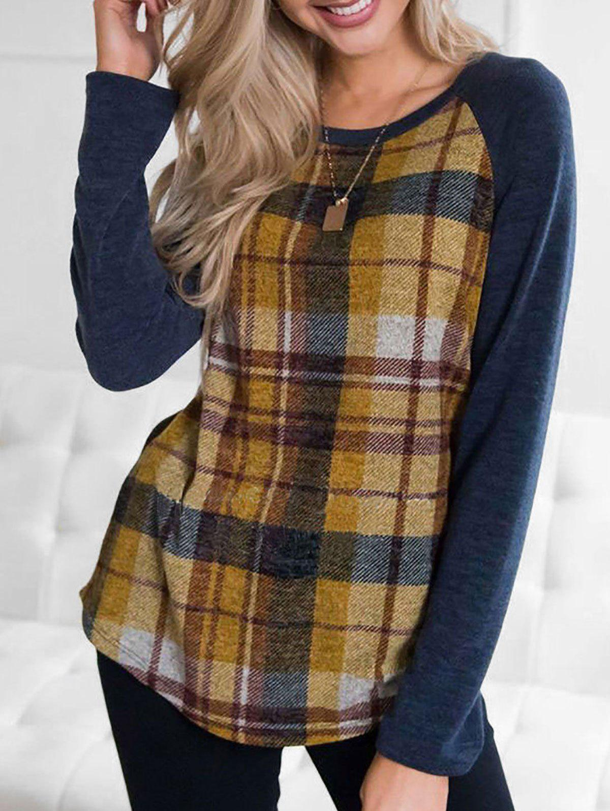 Plaid Raglan Sleeve Top - ORANGE GOLD L