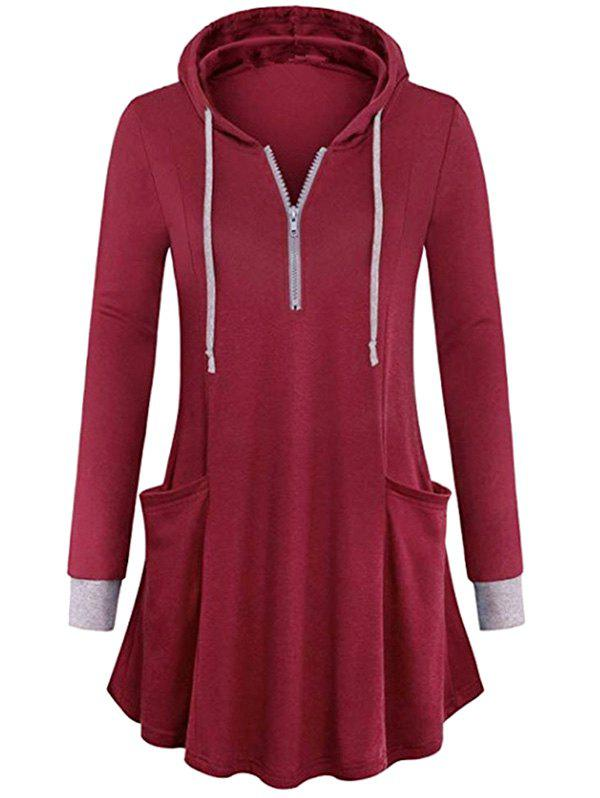 Plus Size Hooded Pockets Half Zip T Shirt - RED WINE 1X