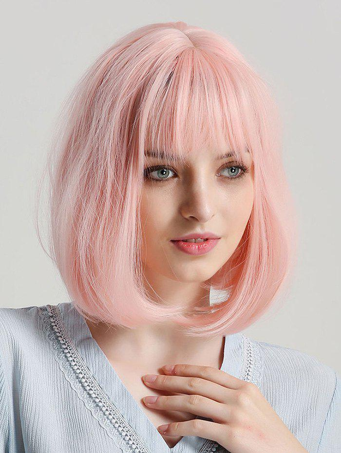 Medium Straight Synthetic Full Bang Bob Wig - LIGHT PINK