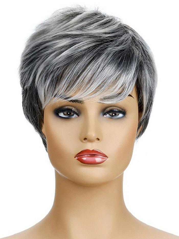 Short Mixed Straight Synthetic Side Bang Wig - WHITE