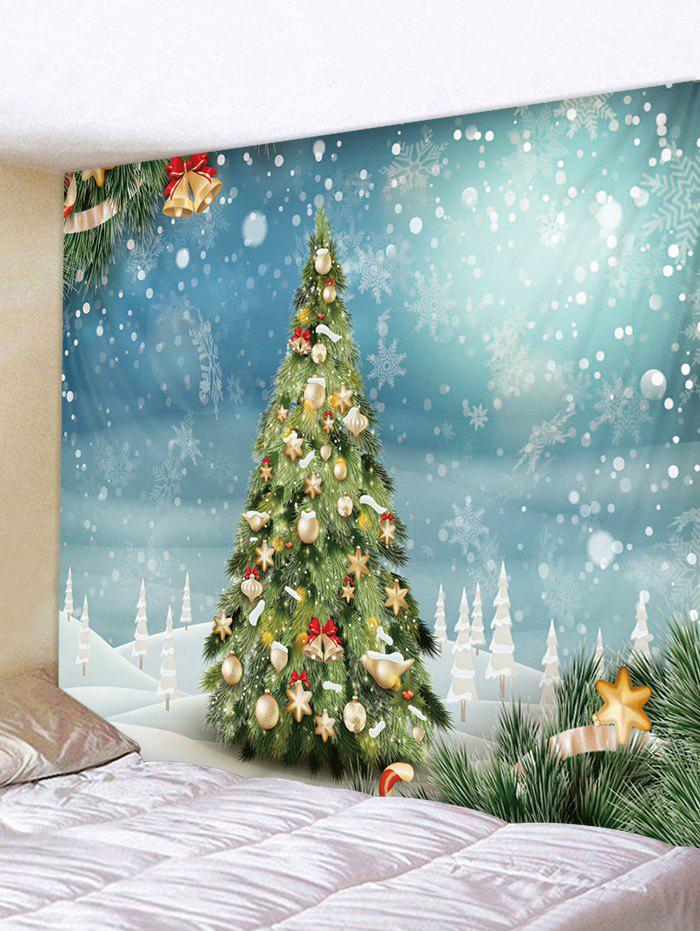 Christmas Balls Tree Snowflakes Print Tapestry Wall Hanging Art Decoration - multicolor W91 X L71 INCH