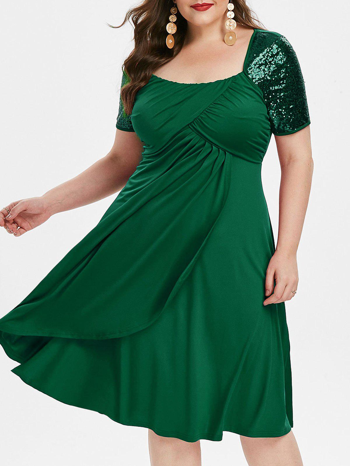 Taille Plus col carré Fit et Flare Robe solide - Vert Mer Moyen 4X