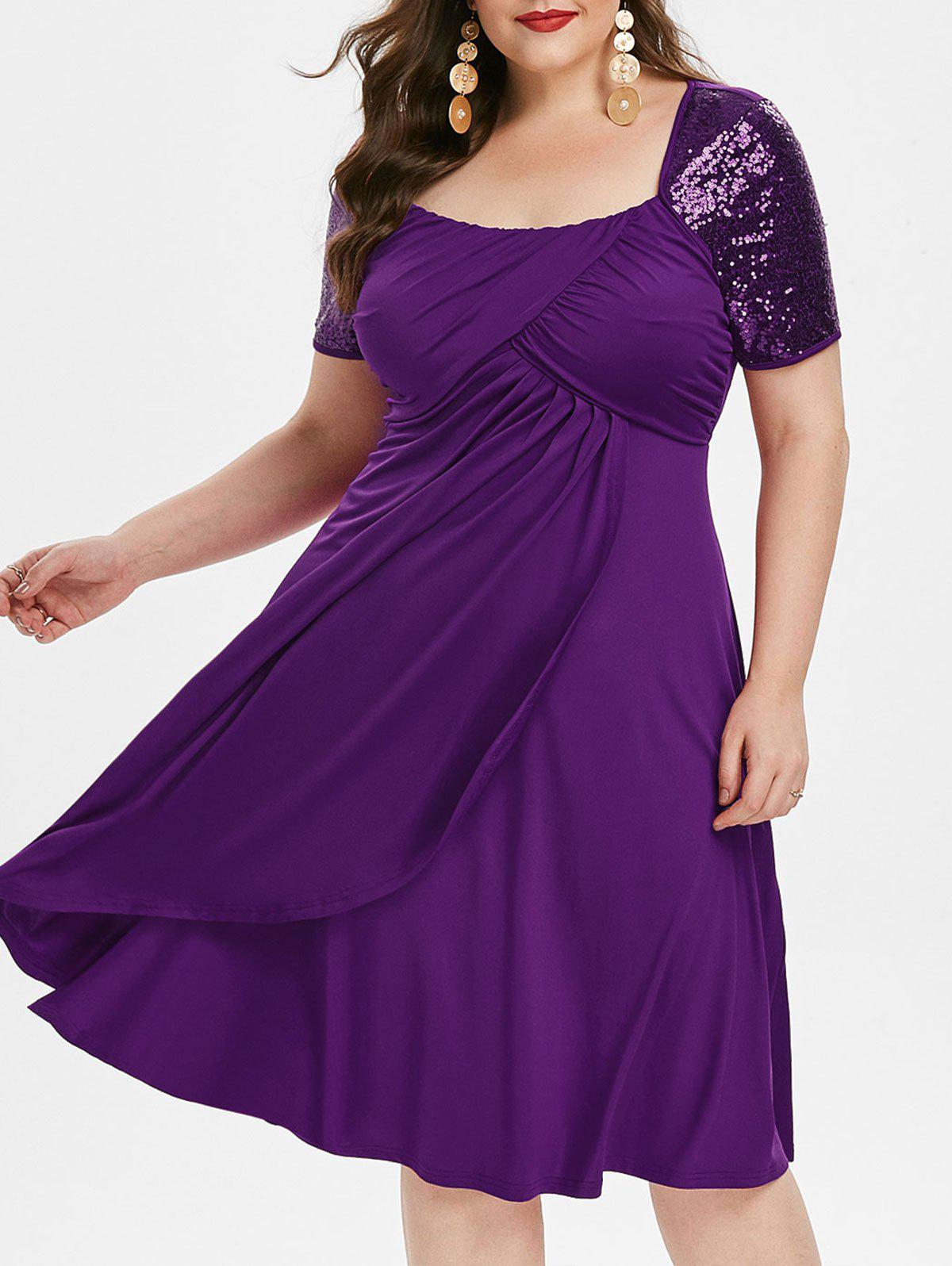 Plus Size Square Collar Fit And Flare Solid Dress - PURPLE AMETHYST 3X