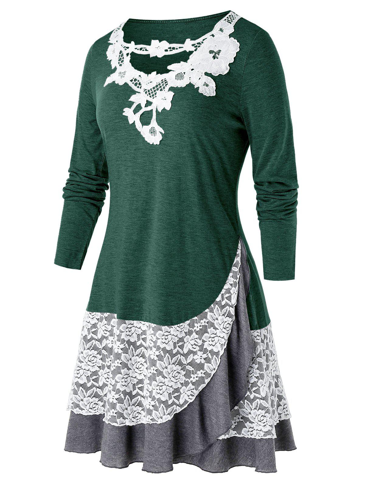 Plus Size Lace Panel Applique Long Sleeve Overlap Tee - DEEP GREEN 5X