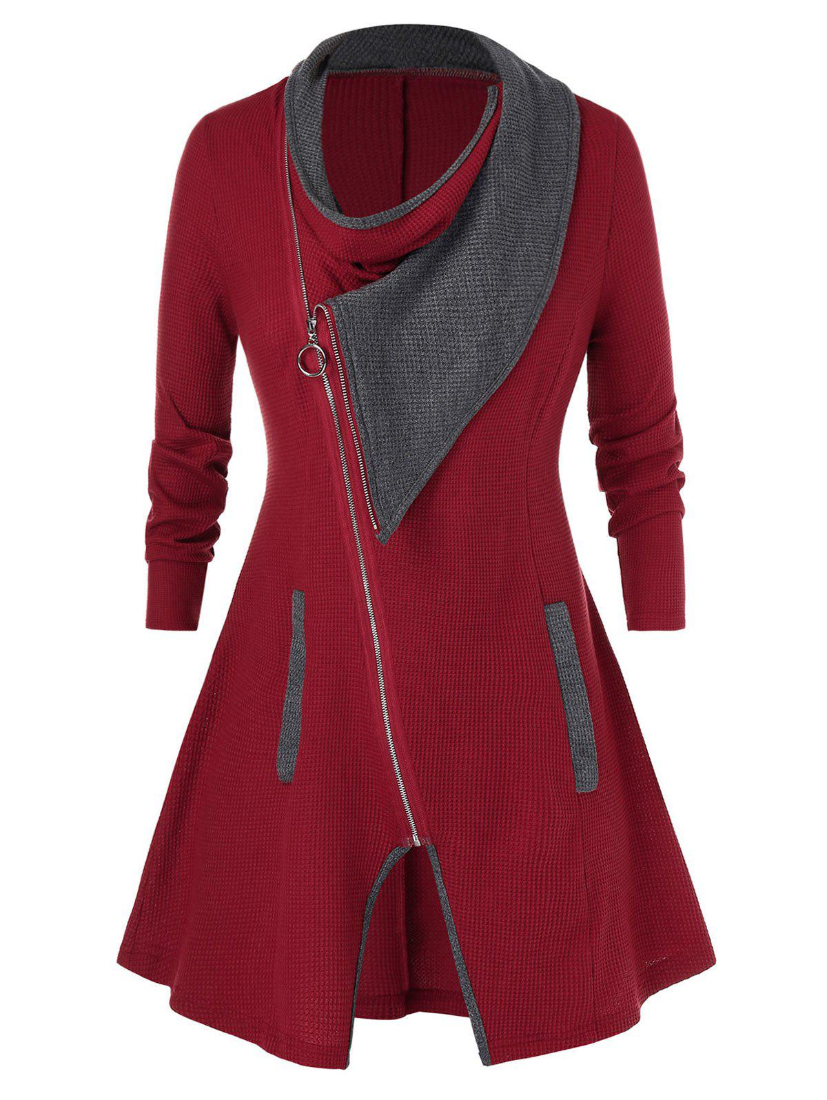 Plus Size Contrast Color Full Zip Cardigan - RED WINE 4X