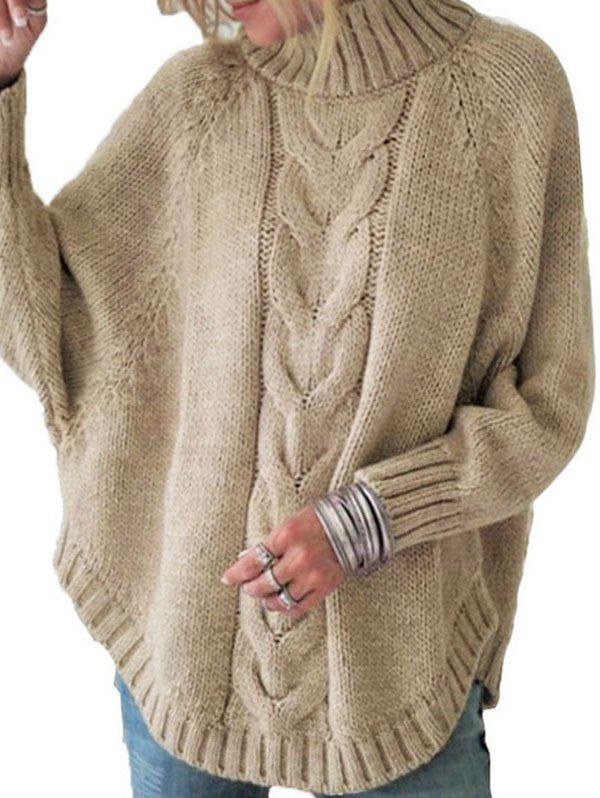 Mock Neck Cable Knit Sweater - LIGHT KHAKI M