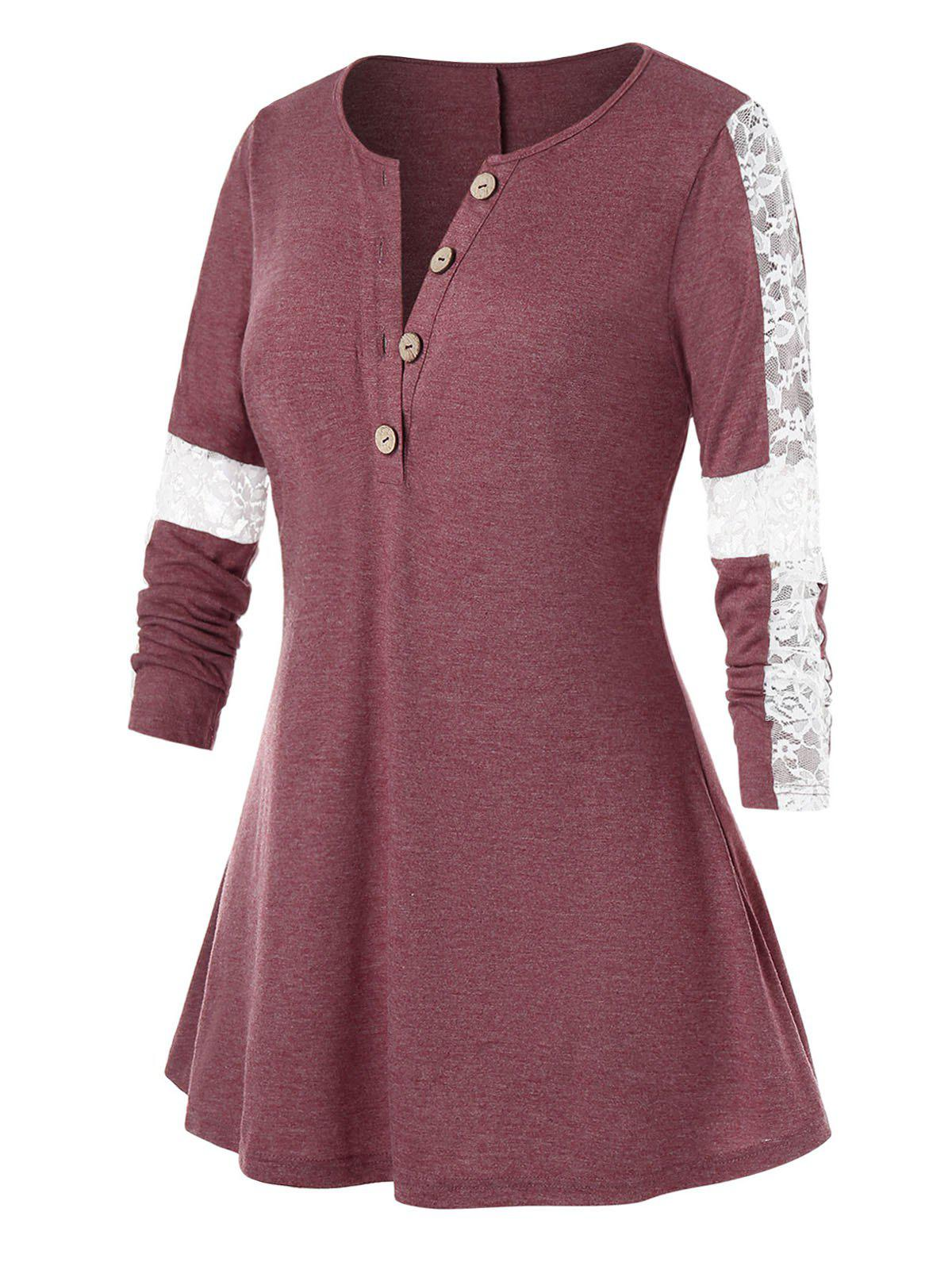 Plus Size Button Lace Panel A Line Top - RED WINE 2X