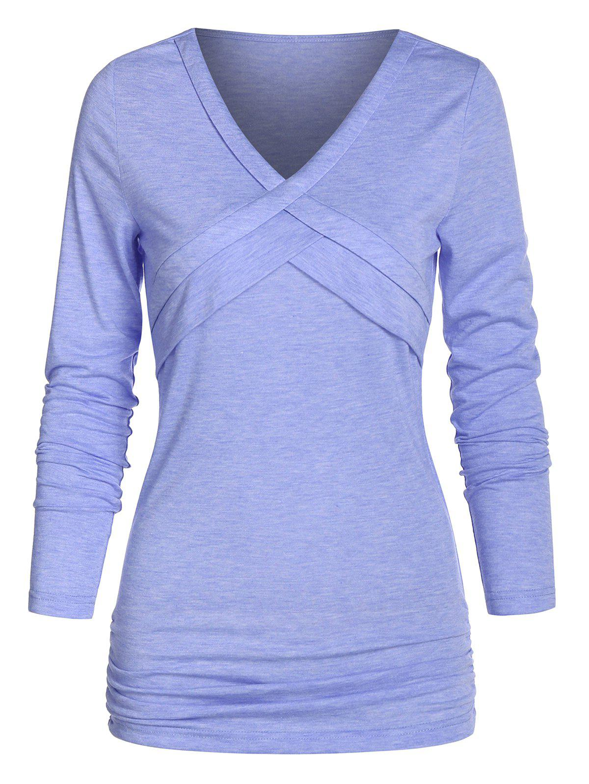 V Neck Front Crisscross Ruched T Shirt - SKY BLUE 3XL