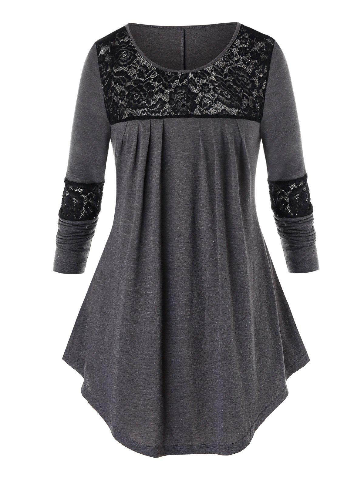 Plus Size Floral Lace Panel Long Sleeve Tee - CARBON GRAY 4X