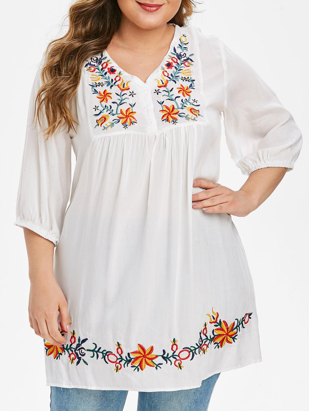 Plus Size Flower Embroidered Placket Pullover Blouse - WHITE L