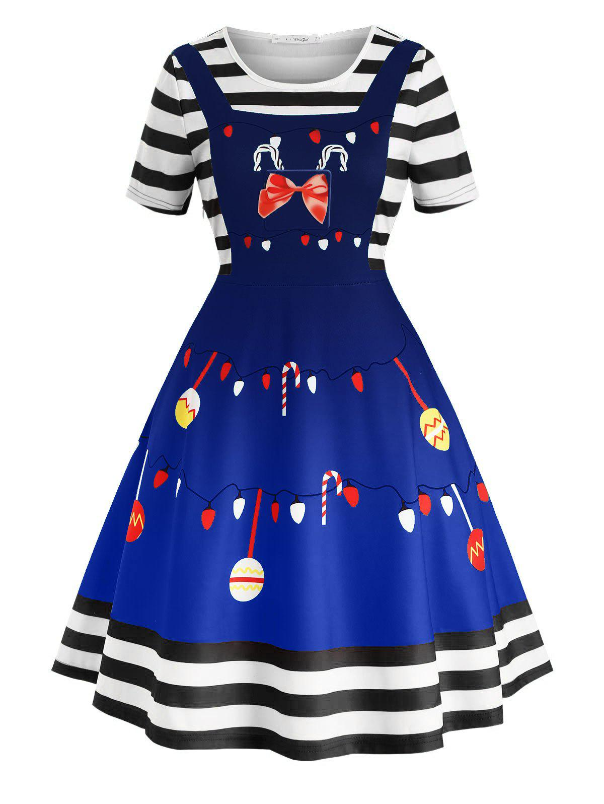 Plus Size Vintage Christmas Print Fit and Flare Dress - BLUE 5X