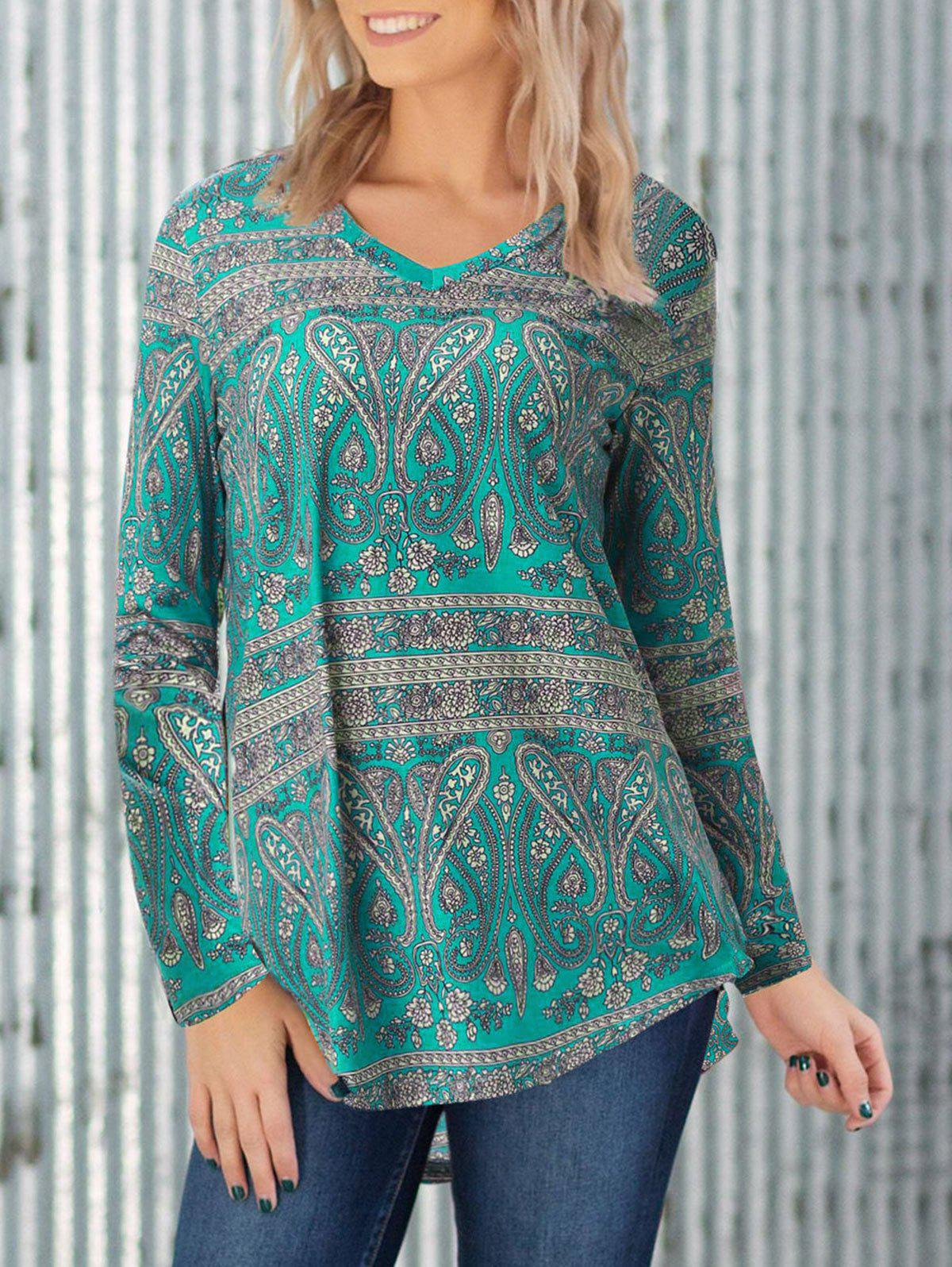 Paisley Print Patchwork High Low Top - DARK TURQUOISE M