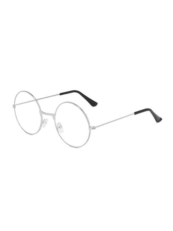 Lightweight Metal Round Plain Glasses - SILVER