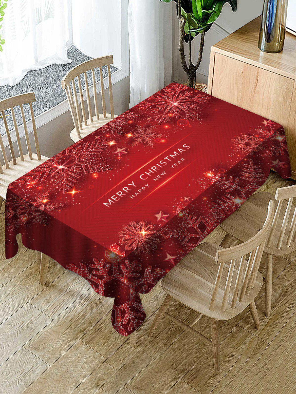 Merry Christmas Snowflake Fabric Table Cloth - RED WINE 60 X 84 INCH