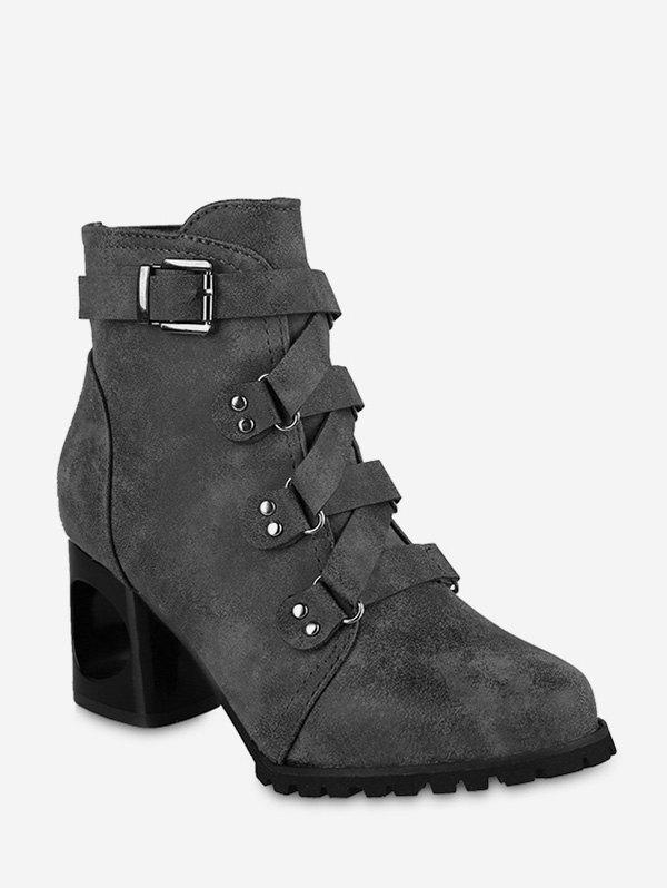 Pointed Toe Buckled High Heel Short Boots - GRAY EU 36